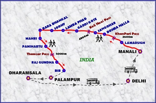 Bara Bhangal Trek route
