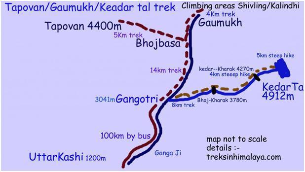 Gangotri Tapovan trek route