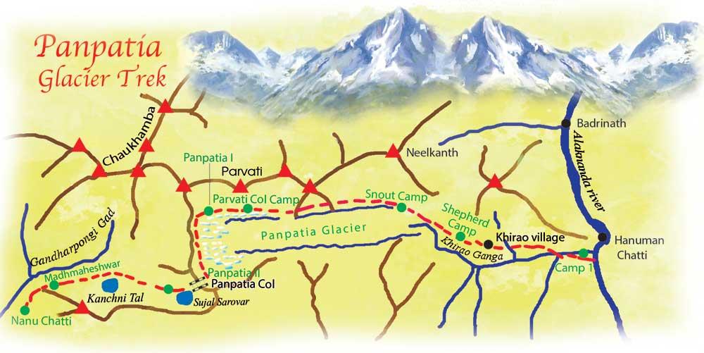 Panpatia Col Trek route