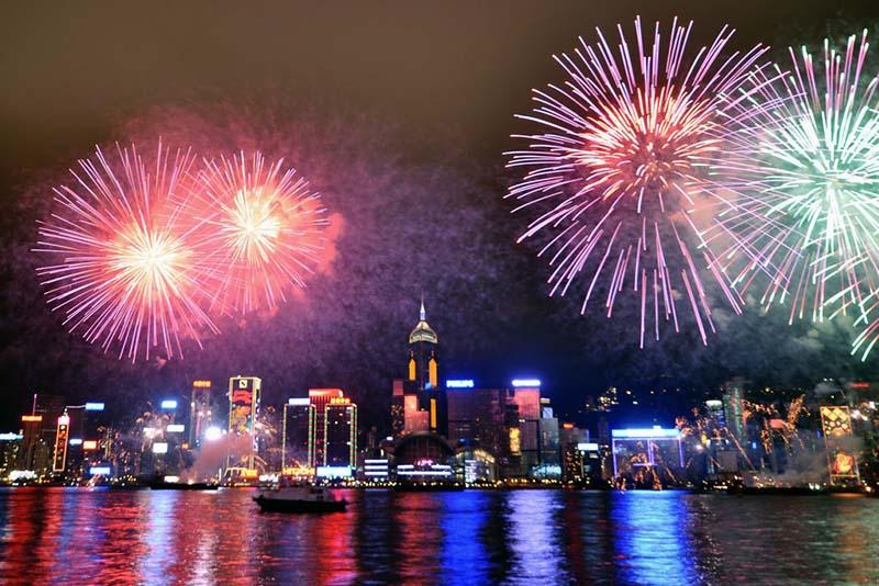 Fireworks At Victoria Harbor